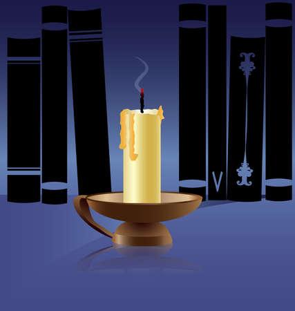 against a dark bookshelf big exiting candle Stock Vector - 9250634
