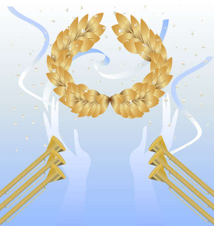 fanfare: on blue background gold laurel wreath in hands, golden fanfare and ribbon Illustration
