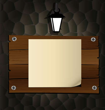 on the dark stone wall of a wooden board, a blank sheet of paper, lit a lantern on top Vector