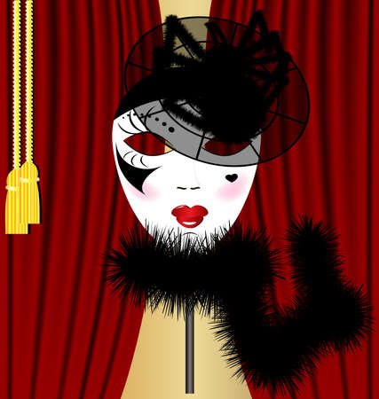 mummers: against the backdrop of a red curtain carnival mask in the form of black-and-white lady in a hat with a big spider Illustration