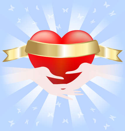 scarlet: on blue abstract background of a large scarlet heart with a golden ribbon that held the two hands Illustration