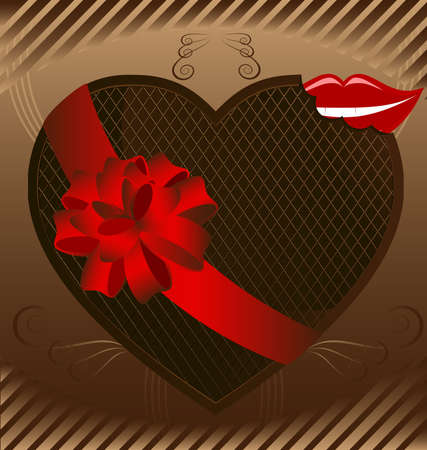 against the background of an abstract pattern large chocolate heart decorated with a red bow, next to him smiling lips Stock Vector - 9301505