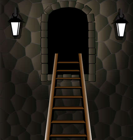 arched: in the stone wall arched window to him the charge of stairs, near the two lamp Illustration