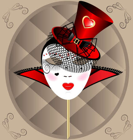 mummers: against the background of an abstract pattern carnival masks extravagant lady in a red hat with veil Illustration