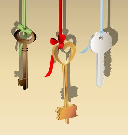 configurations: on a light background are three keys of different shapes hanging on the ribbon: red, blue, green