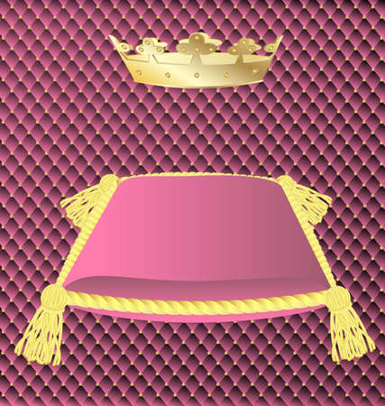 luxo: against the background of a pink trim a large pink pillow with gold tassels and a gold crown