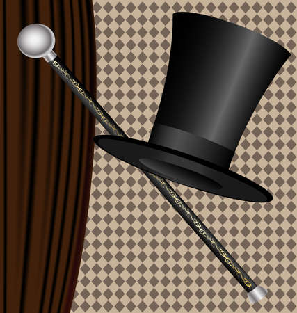 against the dark curtain big black mans hat and cane Vector