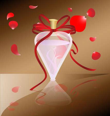 sobre un fondo marrón con perfume de botella de vidrio Rosa, decorado con un lazo rojo, la parte superior cayendo pétalos rojos