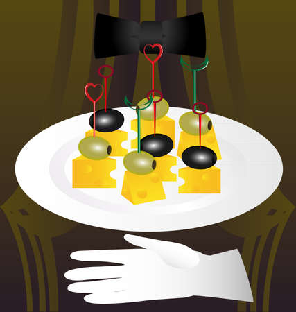 on an abstract background, stylized restaurant, a large white platter with olives and cheese Vector