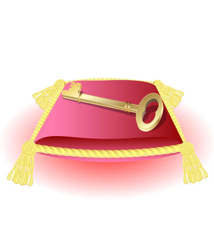 configurations: on a decorative pink pillow with gold tassels a large gold key