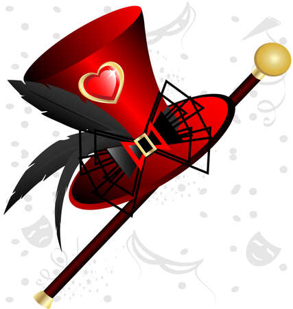 against abstract background big red womans hat with feathers and cane Vector