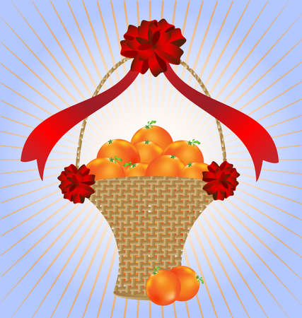 on an abstract blue-pink background large wicker basket with oranges, decoraded large red bow Vector