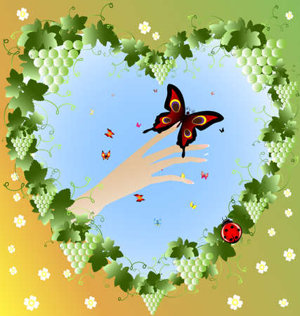 lady's: in the frame of the vine in a heart-shaped womans hand with a big butterfly