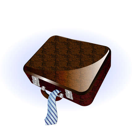 neckcloth: on a white background a big brown suitcase Illustration
