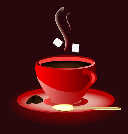 cold coffee: on a dark brown background hot red cup of coffee Illustration