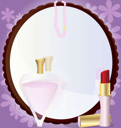 on an abstract background of a large round mirror in front of him lipstick, perfume and beads Vector
