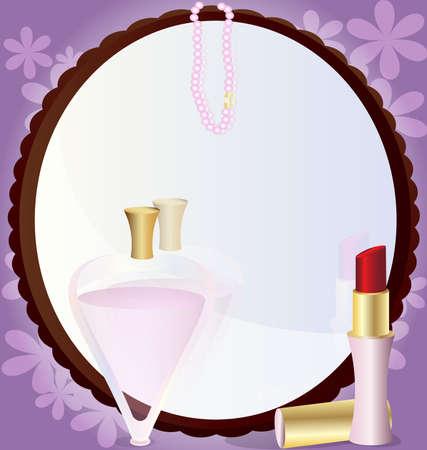 joyas de oro: sobre un fondo abstracto de una gran ronda espejo delante de él, lápiz labial, perfume y perlas