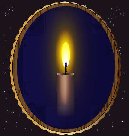 in the night sky a mirror which reflects a burning candle