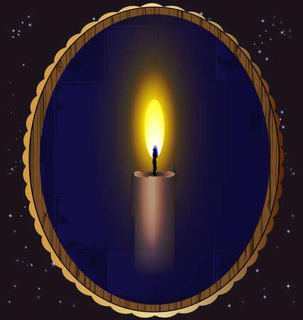 in de nachtelijke hemel een spiegel waarin een brandende kaars