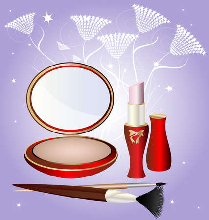 on an abstract background of a large round powder, lipstick, and two cosmetic brush Vector