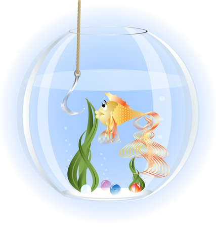 fishhook: in a glass aquarium goldfish surprise stares at a large fishhook