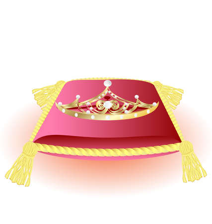 luxo: against a white background large pink pillow with gold tassels and a gold crown, decorated pearls and crystal
