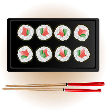 plate of food: on the white background are sushi and chopsticks