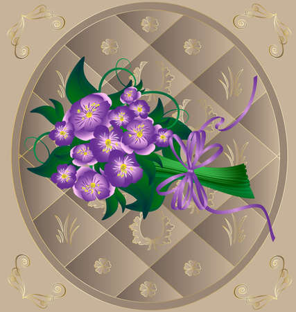 in beige decorative frame bouquet lavender flowers tied with ribbon Vector