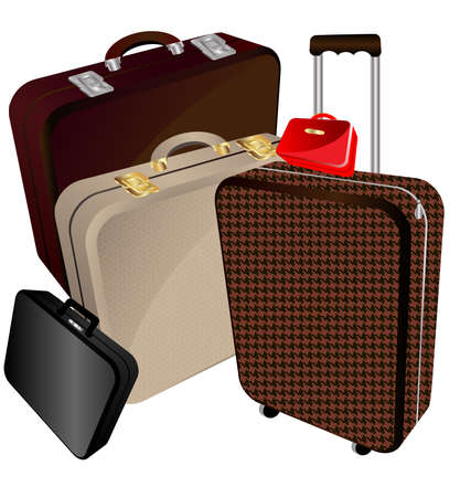 on a white background a large brown suitcase, medium beige bag, big bag, mens black flat bags and ladies' small handbag