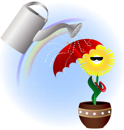 watering pot: against the background of the rainbow yellow flower shaded red umbrella on a large watering can with water