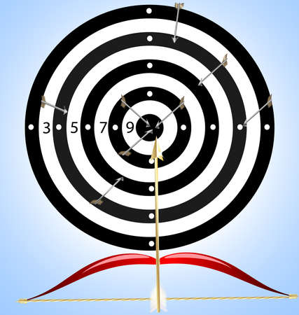 on a colored background target, in which instead of arrows fly brushes, near bow and paint Vector