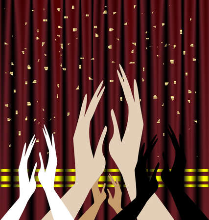 felicitate: against the background of red theater curtain applause