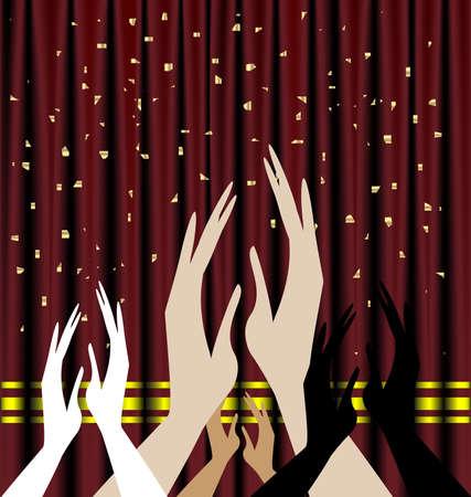 reconocimiento: en el contexto de aplausos de cortina de teatro rojo Vectores
