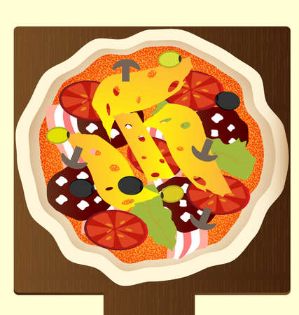 against the backdrop of a wooden tray large pizza Vector