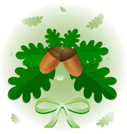 on an abstract background of green leaves of oak and two acorn Vector