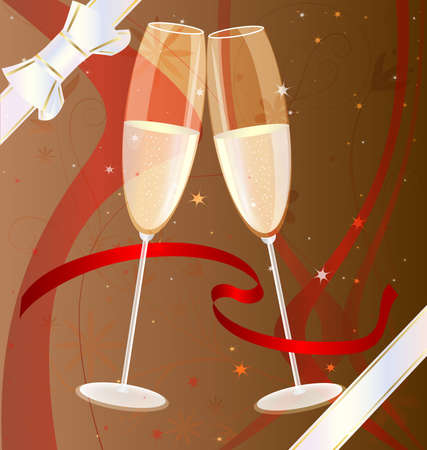 felicitate: on a brown background with scarlet ribbons, abstract patterns and decorative white bow two celebratory glass of champagne