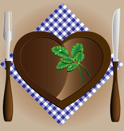 against the background of napkin empty plate in a heart-shaped, a knife and fork Vector