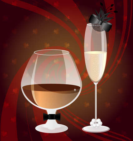 decoraded: on an abstract red-brown background glass of brandy in the image of a man and a glass of champagne in the image of a lady
