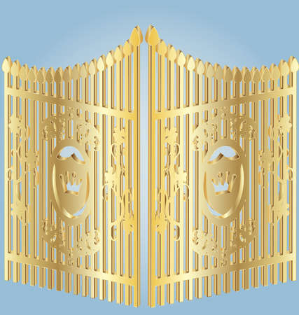 on a blue background gold wrought-iron gates Stock Vector - 9491801