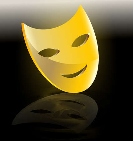 erwartung: on dark background abstract large golden mask comedy