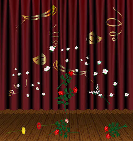 felicitation: against the backdrop of sinking theater curtain on the stage fall flowers
