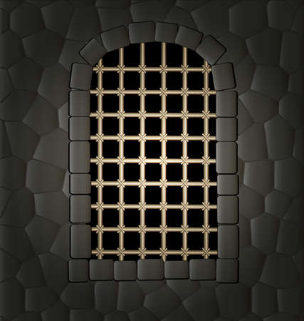 in the stone wall of a window in the form of an arch with a large lattice, illuminated from the outside Vector