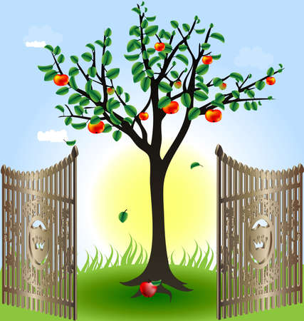 input output: in the sun and blue sky apple tree with red apples in the foreground of the open wrought-iron gates