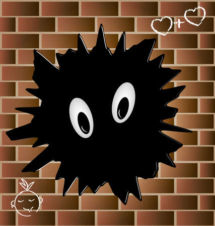 on the wall of red brick a big black blob with eyes Stock Vector - 9491816