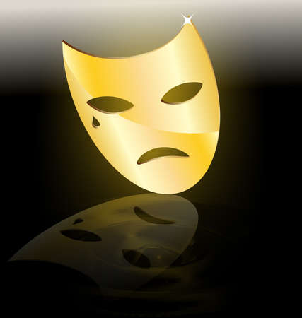 mummer: on dark background abstract large golden mask tragedy