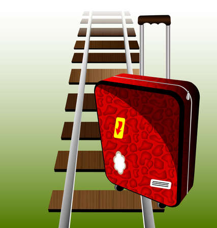 against the background of railroad rails is a big red suitcase traveler Vector