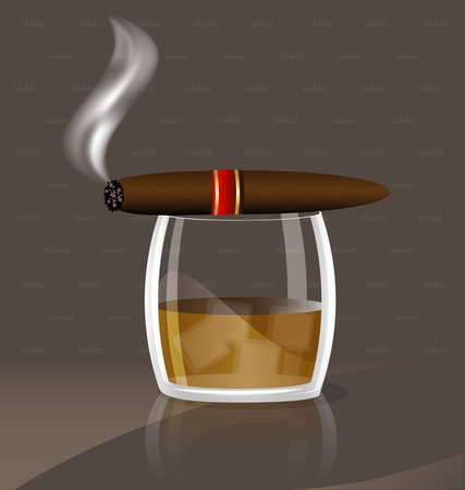 aganst abstract background a large glass of whiskey and cigar Vector