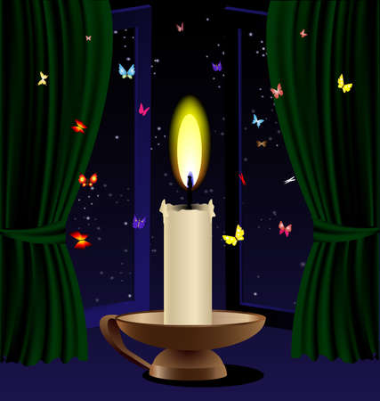 against the open window of a burning candle around her butterflies Stock Vector - 9491821
