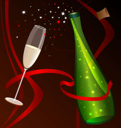 felicitate: on a red-brown background with scarlet ribbons, celebratory bottle and glass of champagne