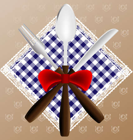 against the background of napkin, a knife, spoon and fork Vector